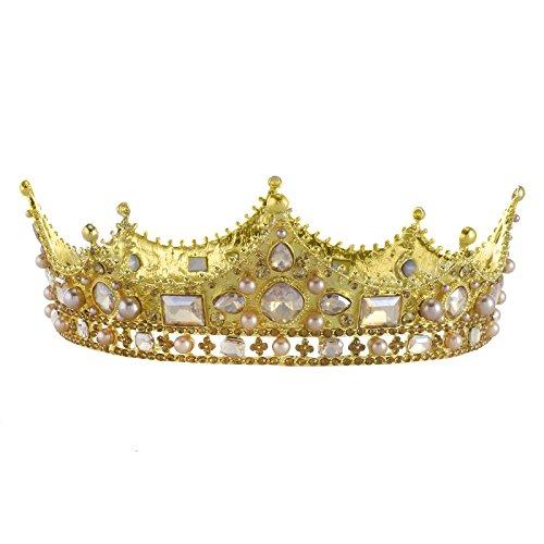 Santfe 2'' Baroque Royal King Crown Diadem Crystal Ruby Queen Tiaras Pageant Wedding Bridal Hair Accessories (Gold)