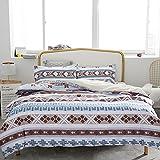 SLQL Juego de ropa de cama Anime Themed de rayas pequeñas de rombos, juego de 3 piezas, funda nórdica y 2 fundas de almohada de microfibra suave 135 x 200 cm