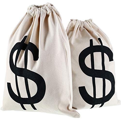 Gejoy 2 Pieces Money Bags Drawstring Bag Canvas Bag with Dollar Sign Symbol for Toy Favor Bank Robber Themed Party, 30…