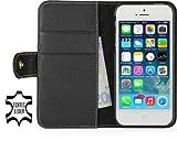 StilGut Leder-Hülle kompatibel mit iPhone 5/5s/iPhone SE Brieftasche mit Karten-Fächer & Druckknopf, Schwarz