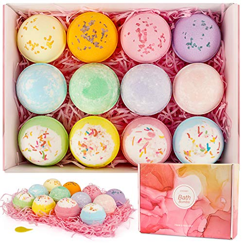 CHOOBY Bath Bombs,12 Pcs Handmade Bath Bomb Gift Set with Natural Ingredient, Sea Salts, SPA Bath, Fizzies for Moisturizing Skin, Gift for Kids, Women, Mom, Girls, Friends for Valentine's Day