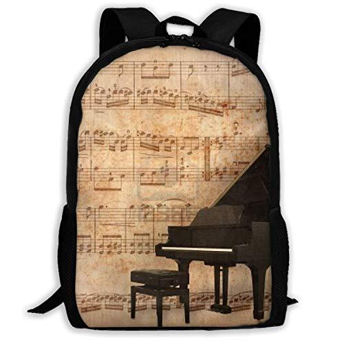Rucksack Klavier- und Retro-Notenblatt mit Reißverschluss für Schule, Büchertasche, Tagesrucksack, Reiserucksack, Turnbeutel für Männer und Frauen