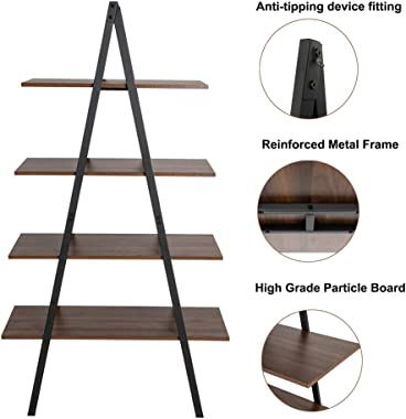 Glitzhome 4-Tier Wood Ladder Shelf Modern Bookcase A Shape Industrial Display Ladder Tier Shelf Storage Rack Free Standing Storage Bookshelf for Home Office- Brown/Black