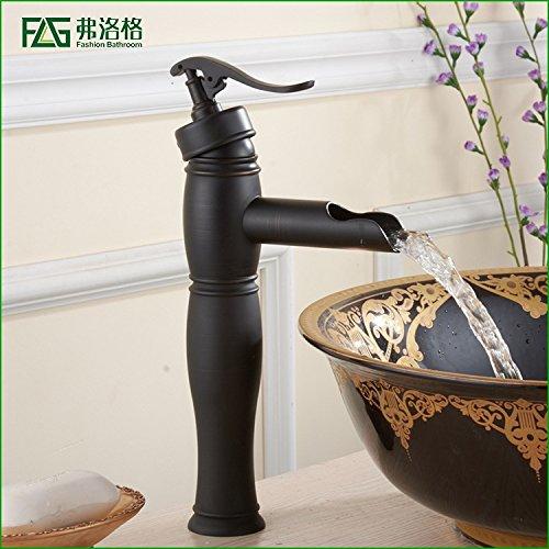 Maifeini - Grifo de cascada para baño, lavabo de agua, color negro