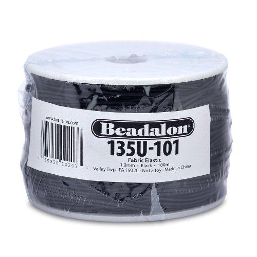 Beadalon Fabric Elastic 1.0mm Black, 100-Meter