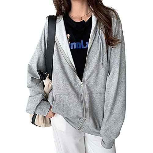 Sudaderas con cremallera para mujer, manga larga, color sólido, con cordón, con capucha, 90s E-Girls Streetwear, gris, M