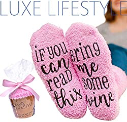 """PERFECT FUNNY GIFT – Original """"If You Can Read This Bring Me Some Wine"""" Funny Socks by Luxe. Printed with anti-slip material ensuring safety after a glass! For that special wine lover in your life, surprise and excite with this one of a kind gift for..."""