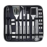 U-MISS BBQ Grill Tools Set with 24 Barbecue Accessories - Stainless Steel Utensils with Free Black Portable...