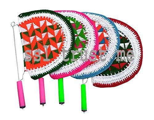 Abanico tradicional de lana hecho a mano, hermoso y tradicional para aire fresco/hecho a mano, hermoso ventilador de mano tradicional (paquete de 4 unidades), multicolor