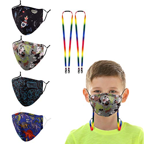 Kids Child Reusabel Face Mask Boy Girl Toddler Youth Teens Cover, Washable Cotton Cloth Adjustable Comfortable Facemask, Fashion Cute Funny Design Madks, Niños Dinosaur Space Military Camo Video Game