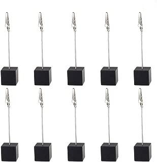 senover 10pcs Table Number Holder Name Place Card Holder Memo Clip Holder Stand Note Holder Pictures Card Paper Menu Clip (Black)