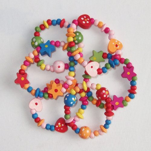 8 x Colourful Wooden Girls Bracelets - Ideal as Goody Loot Party Bag Filler Jewellery by HaSaH by HaSaH