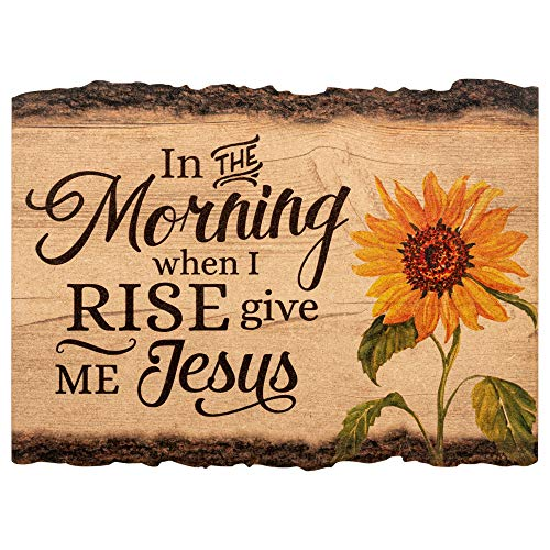 P Graham Dunn in The Morning When I Rise Give Me Jesus Sunflower 9 x 12 Wood Bark Edge Design Wall Art Sign