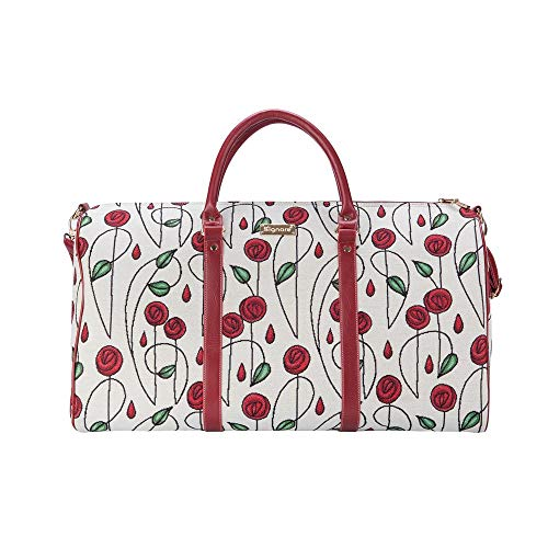 Signare Tapestry Large Duffel Bag Overnight Bags Weekend Bag for Women with Flora Design (Mackintosh Rose)