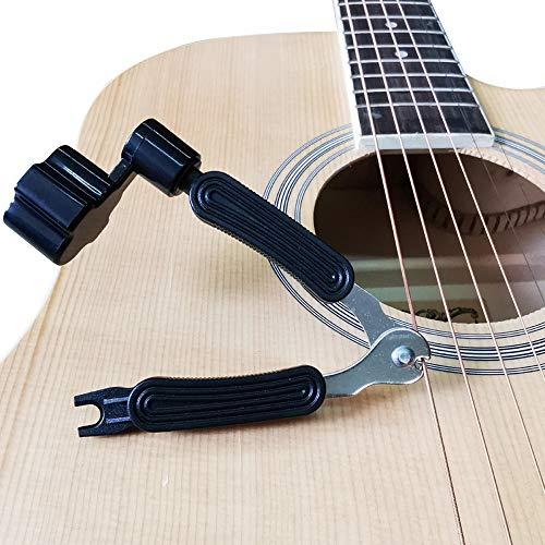 Gitarrensaiten-Wechselset, Akustikgitarrensaiten 2 Sätze, Gitarrensaitenwickler und -schneider, Brücken-Pin-Abzieher 3 in 1 Gitarren-Multi-Tool