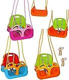 alles-meine.de GmbH mitwachsende - Gitterschaukel / Babyschaukel mit Gurt -  ROSA / PINK  - Leichter Einstieg ! - verstellbar & mitwachsend - belastbar 100 kg - Kinderschaukel ..