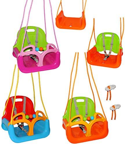 alles-meine.de GmbH mitwachsende - Gitterschaukel / Babyschaukel mit Gurt -  ROT / GELB / BLAU  - Leichter Einstieg ! - verstellbar & mitwachsend - belastbar 100 kg - Kindersch..