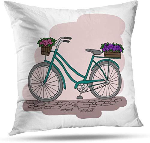 TABUE 18X18inch kussenslopen Fiets met 2 manden Bloemen Fietsmand Fiets Dubbelzijdig Patroon Kussen Cover Couch Kussensloop