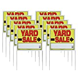 Bright, bold colors attract the attention of passing traffic Directional arrows help drivers find your sale Pre-assembled with metal u-stake for easy ground placement Made from all-weather 3 mil plastic Value pack ensures plenty of signs so customers...