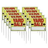 Sunburst Systems 3908 Yard U-Stake Yard Sale Sign, 22' x 14', 10 Pack, Yellow,Red,Black