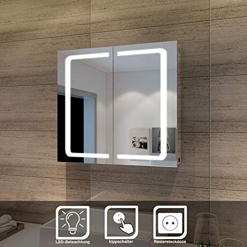 SONNI LED Spiegelschrank 2türig 70 x 65 x13cm Badezimmerspiegel wandschrank Badschrank mit Beleuchtung mit Steckdose