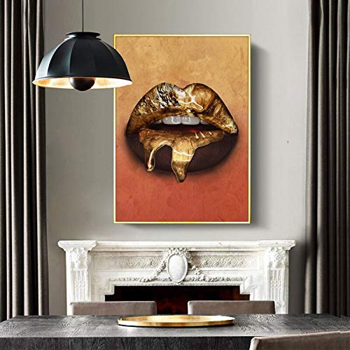 Quadro Nero su Tela Dipinto Sexy Labbra Dorate Foto Poster e Foto Wall Art 60x90 Senza Cornice