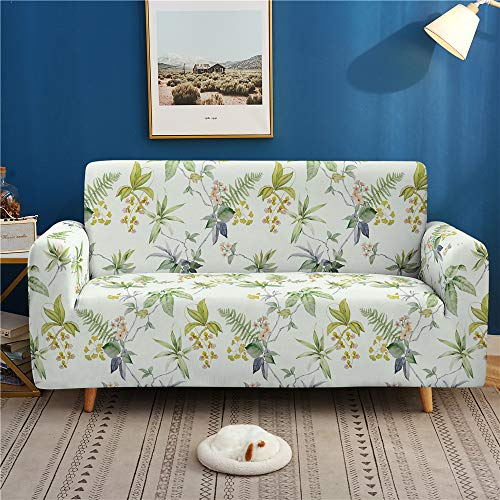 EnhomeSofaCoverSlipcover 1 2 3 4 Seater, Garden Style StretchFabricCouchCoverwith Arms SofaProtector ElasticSpandexAnti-SlipWashableFurniture CoverHomeDecor (Green Summer,1 Seater)