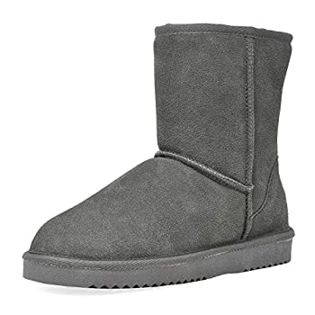 DREAM PAIRS Women s Shorty-New Grey Mid Calf Winter Snow Boots Size 8 M US