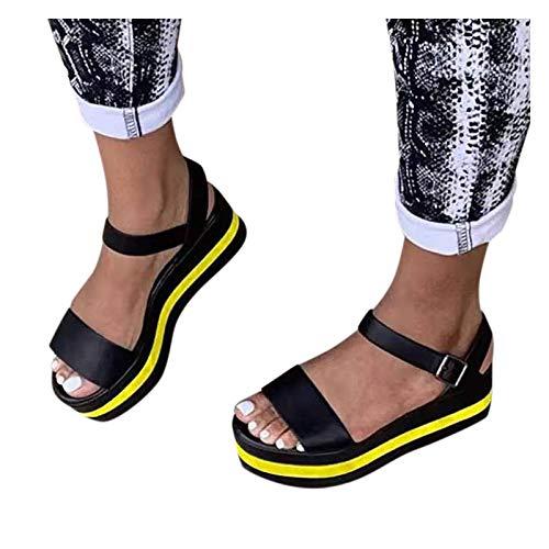 WINTOM sandali donna tacco 5 cm pantofole donna canvas sandals for women platform ciabatte donna con zeppa sandalo nero tacco espadrillas donna zeppa alta lacci