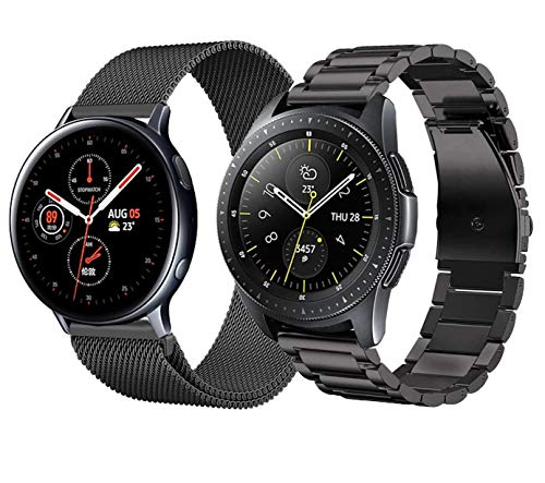 Cinturino Compatibile con Samsung Galaxy Watch 42mm/Galaxy Watch 3 41mm/Galaxy Watch Active 2/Huawei Watch GT2 42mm Cinturini in Acciaio Inossidabile Cinturino in Maglia Metallica per Uomo-Nero