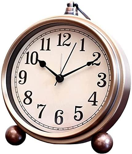 LZXH Orologio da Tavolo Silenzioso retrò Sveglia Senza Tic Tac Stile Europeo Ornamenti semplici Camera da Letto da Letto Orologio da Comodino Alimentato a Batteria (Colore: E) Orologio Decor