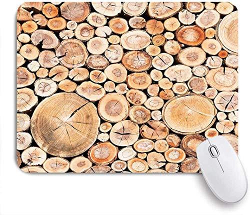 Gaming Mouse Pad rutschfeste Gummibasis, rustikale hölzerne Baumstümpfe Ein Zaun aus gestapelten Schnüren aus Holz Vintage Bauernhaus, für Computer Laptop Schreibtisch