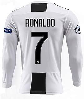 Juventus 2018/2019 Season 7 Ronaldo Home Mens Long Sleeve Soccer Jersey & Armbands (S-L)