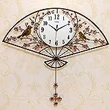 NSYNSY Reloj de Pared con diseño de Hierro, Reloj de péndulo Decorativo para Sala de Estar, Reloj en Forma de Abanico Tallado, Reloj de Aluminio de 10 Pulgadas, dial A 76x70cm (30x28inch)
