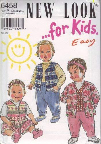 Simplicity 6458 Schnittmuster für Kinder, Weste, Jacke und Hose, Gr. NB, S, M, L