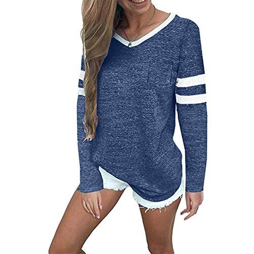 Damen Bluse Langarm Mode Patchwork Streifen T-Shirt Frauen Casual V-Ausschnitt...