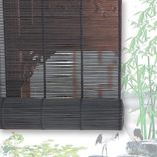 Estores De Bambú Persianas QIANDA Negro Filtrado De Sol Venecianas Enrollable Cortina Sala De Partición Fácil Instalación, Tamaños Personalizado (Color : A, Size : 100cmX160cm)