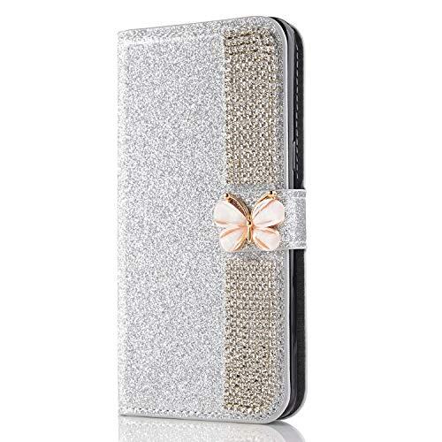 Miagon Hülle Glitzer für iPhone 12 Mini,Diamant Strass Schmetterling Kette PU Leder Handyhülle Ständer Funktion Schutzhülle Brieftasche Cover,Silber