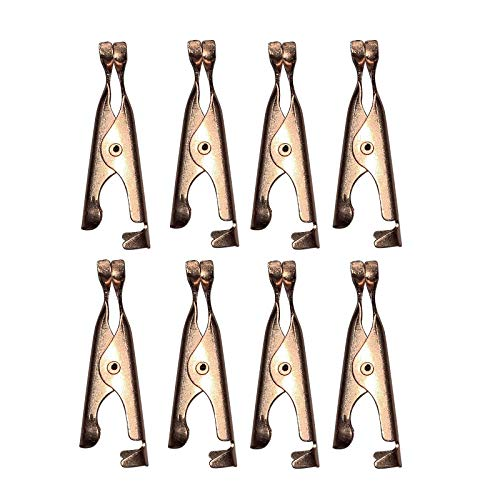 8PC Toothless Alligator Test Clip Copper Plated with Smooth Jawed and Microscopic Tip Small Clip Copper Tag Out Skin Tag Remover Skin Wart Tag Tattoo (8PC)