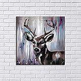N / A Pet Deer Picture Pintado a Mano Pintura al óleo sobre Lienzo Imagen en la Pared para la decoración del hogar Sin Marco 30x30 cm