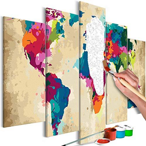 murando Pintura por Números Mapamundi 100x50 cm 5 Piezas Cuadros de Colorear por Números Kit para Pintar en Lienzo con Marco DIY Bricolaje Adultos Niños Decoracion de Pared Regalos n-A-0632-d-m