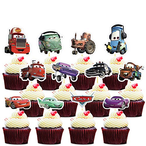 36 Mcqueen Cupcake Toppers Cupcake Decorations Car Theme Birthday Party Topper for Children