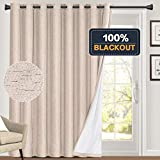 100% Blackout Linen Look Patio Door Curtain 84 Inches Long Extra Wide Thermal Insulated Grommet Curtain Drapes for Living Room/Sliding Glass Door, Primitive Winow Treatment Decoration, Natural