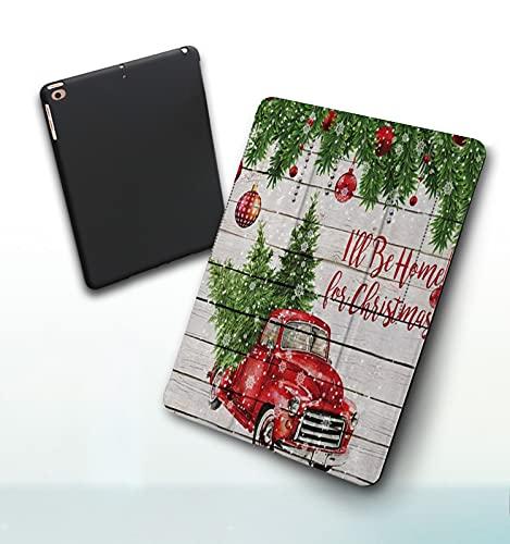 Funda para iPad 9,7 Pulgadas, 2018/2017 Modelo, 6ª / 5ª generación,Feliz Navidad Bolas de Navidad Coloridas con Pino Abeto Camión Retro Rojo Coche con Smart Leather Stand Cover with Auto Wake/Sleep