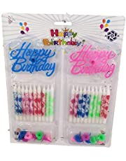 20 candles with 20 candle holders and 2 Happy Birthday logos