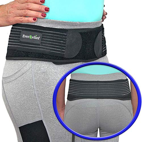 EverRelief SI Belt Hip Brace- Sacroiliac Joint Support for Men & Women-Fully Adjustable Sciatica Brace Relieves Back, Pelvic & Hip Pain-Large