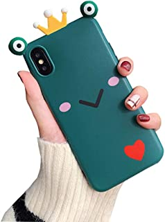BONTOUJOUR iPhone X/iPhone XS Case, Super Cute Frog Prince Shape Phone Case, funny Crown Frog TPU Silicone Cover Case with 360 Degree Strong Protection-Prince Frog