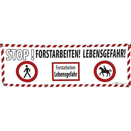 Banner reclamebanner - Stop boswerk levensgevaar - 3x1m - spanband - 309938