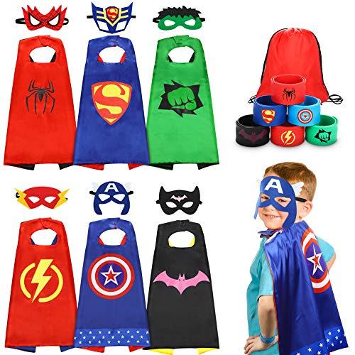 Jojoin 6 Pcs Capas de Superhéroe para Niños, Disfraces de Superhéroe para Niños, Kit de Cosplay para Niños con 6 Máscaras y 6 pulseras y 1 bolsa, Juguetes Regalos para Cumpleaños, Halloween o Carnaval