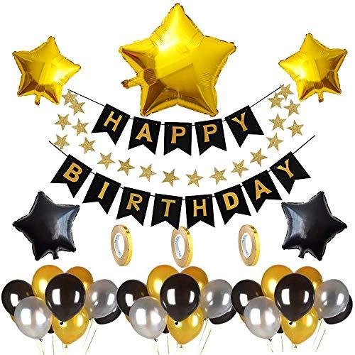 Decoración de cumpleaños, Negro y Plata y Oro con Banner Globos de lámina de Oro y Globos de cumpleaños Party Supplies